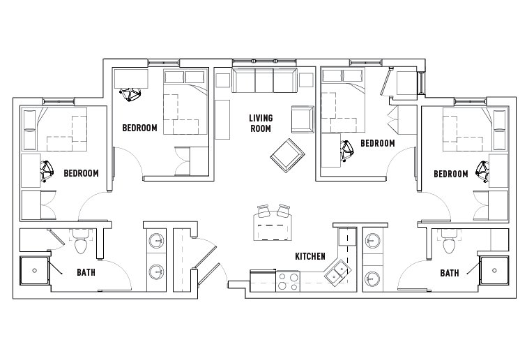 Best 4 Bedroom 2 Bath Drake West Village Student Housing With Pictures