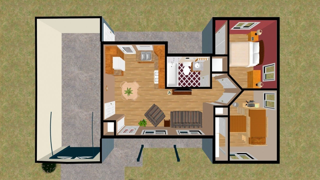 Best 2 Bedroom House Plans 3D 2 Bedroom House Simple Plan Cozy With Pictures