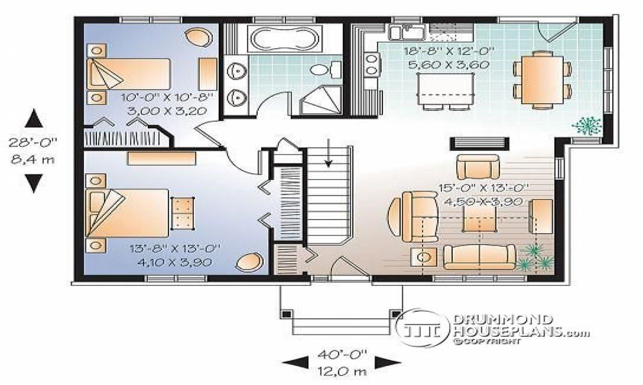 Best 2 Bedroom Single Level House Plan Split Level T**N With Pictures