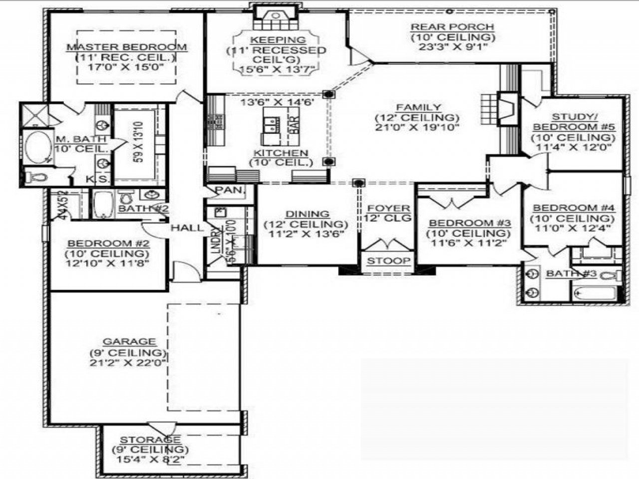 Best 1 5 Story House Plans With Basement 1 Story 5 Bedroom With Pictures