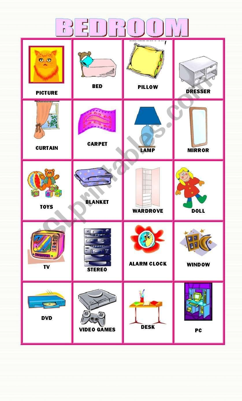 Best English Worksheets 20 Flashcards About Objects In The Bedroom With Pictures