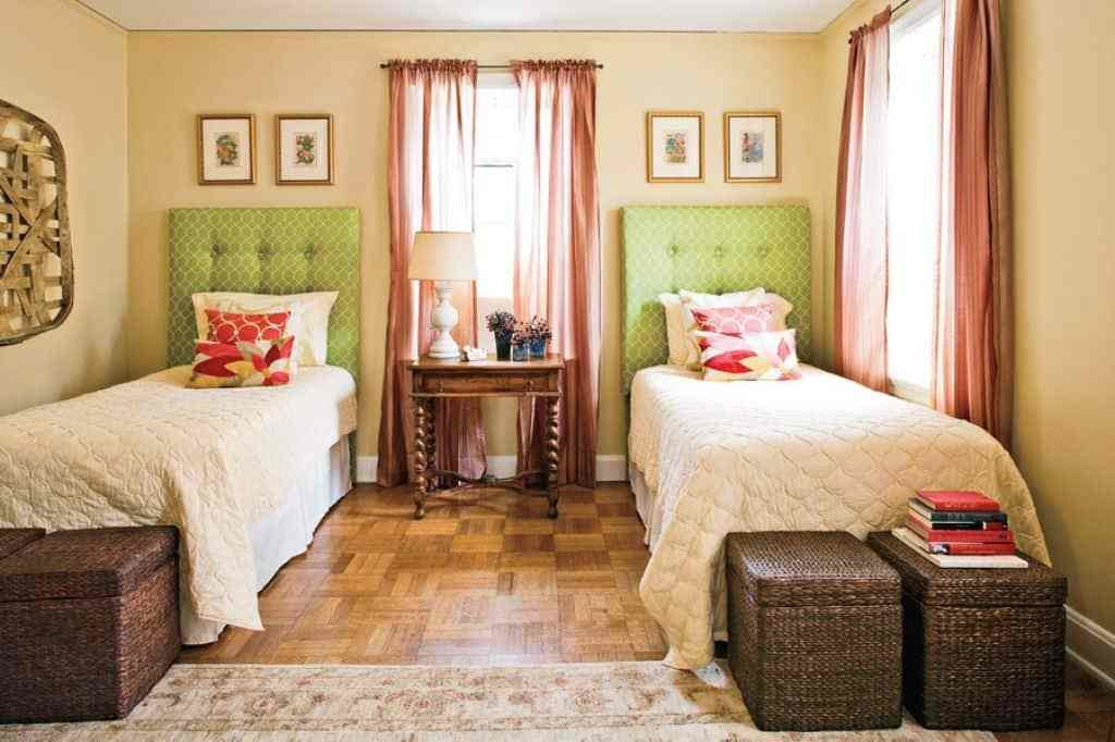 Best Guest Bedroom With Double Beds And Using Wicker Boxes For With Pictures
