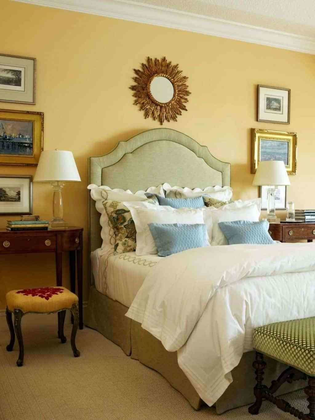 Best Bedroom With Sunburst Mirror And Yellow Walls Decorating With Pictures
