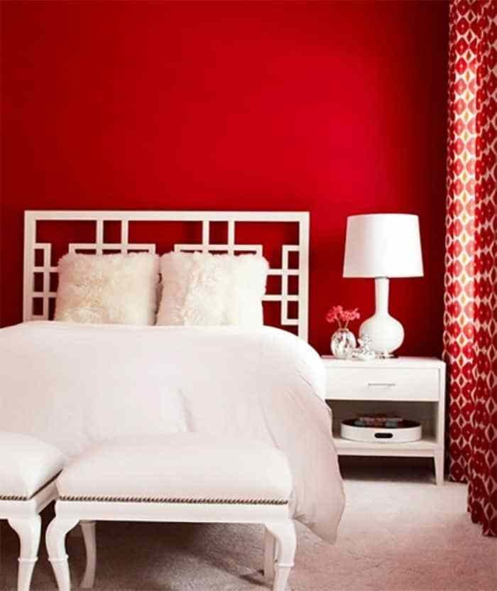 Best Bedroom With White Curtains And Red Walls Bold Red Bedroom Color Wearefound Home Design With Pictures