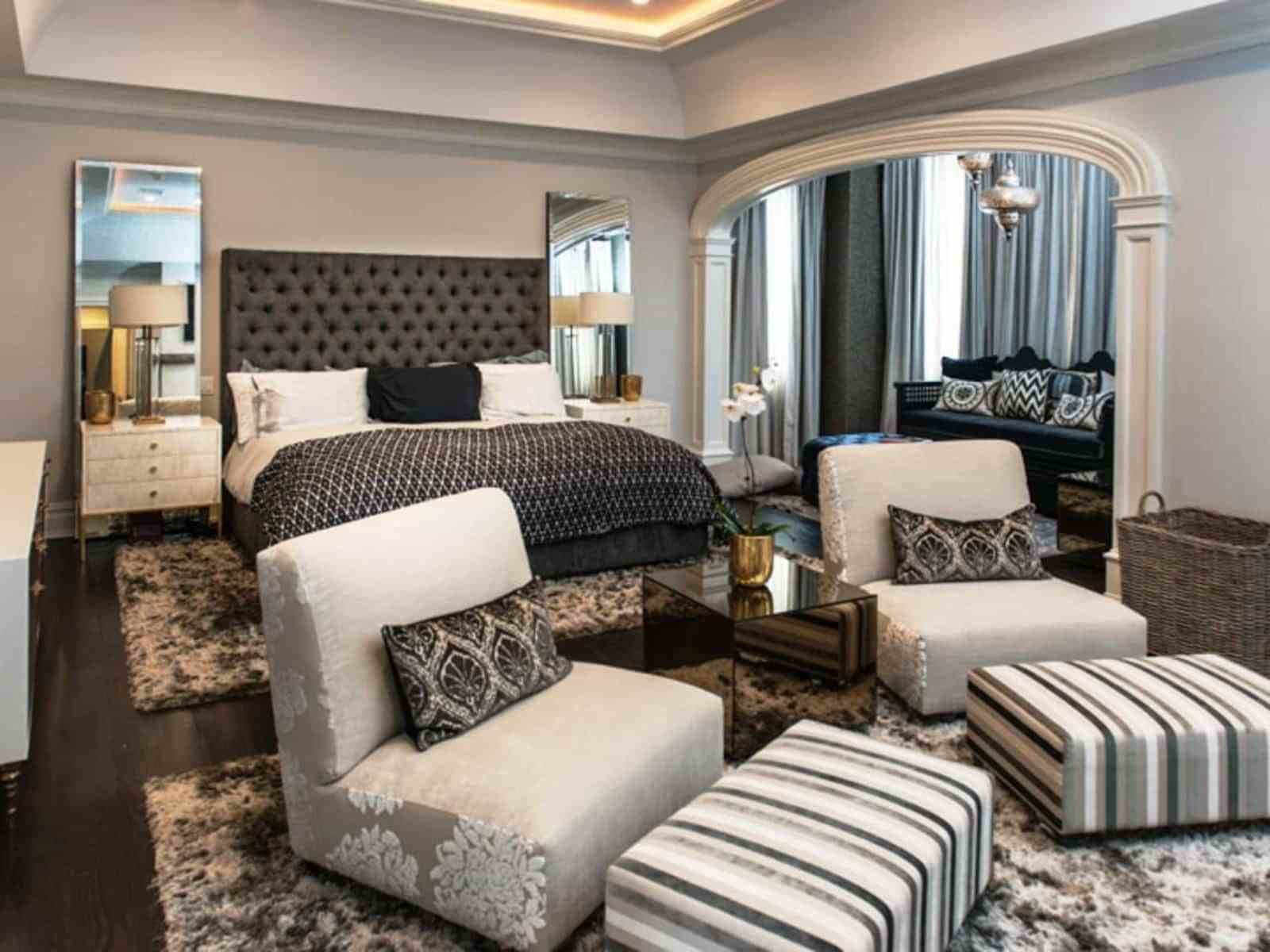 Best Modern Master Bedroom With Wall Mirrors And Sitting Area With Pictures