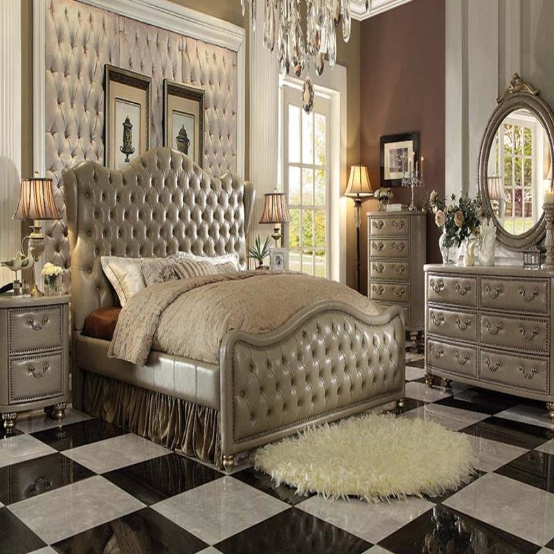 Best Acme Furniture Queen Bedroom Set Gold 21240Q Hot Sectionals With Pictures