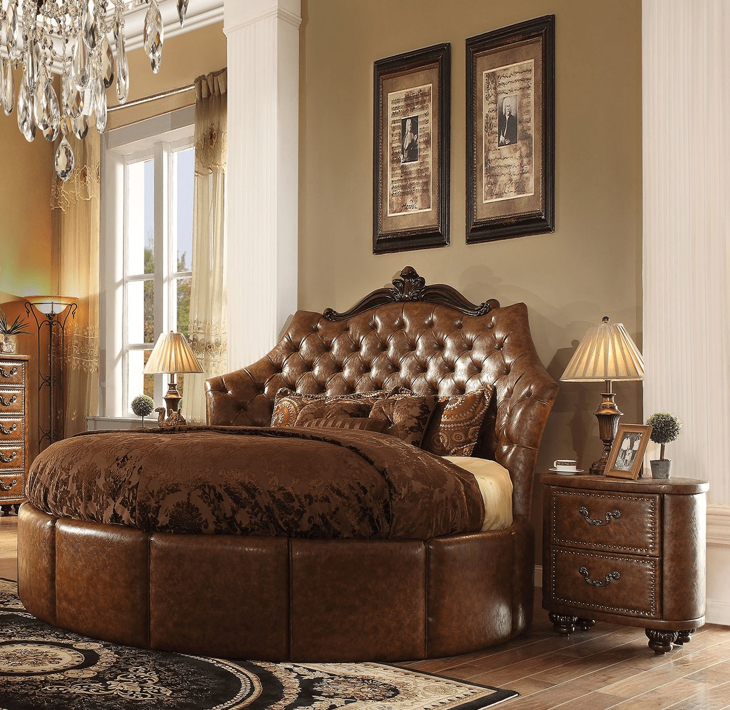 Best Formal Round Cherry Brown Bedroom Set Acme Hot Sectionals With Pictures