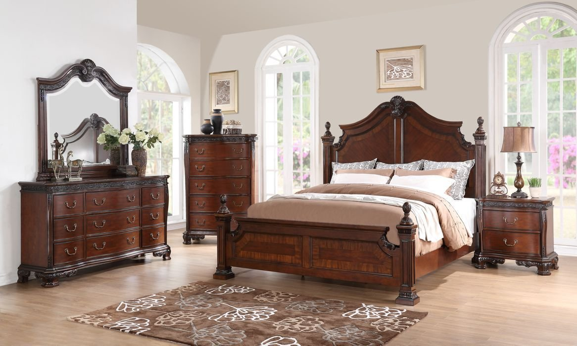 Best Western King Size Bed 1Pc Traditional Look Elegance Wooden With Pictures