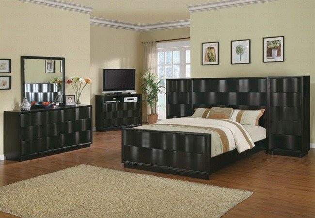 Best 7 Piece Wave Bedroom Set With High Boy Chest In Deep With Pictures