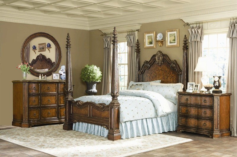 Best Beladora Poster Bed 6 Piece Bedroom Set In Caramel With With Pictures