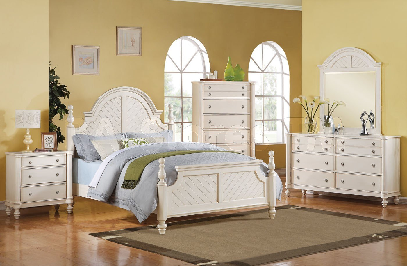 Best Coastal Lighthouse 5 Pc Bedroom Set In Antique White Acme With Pictures