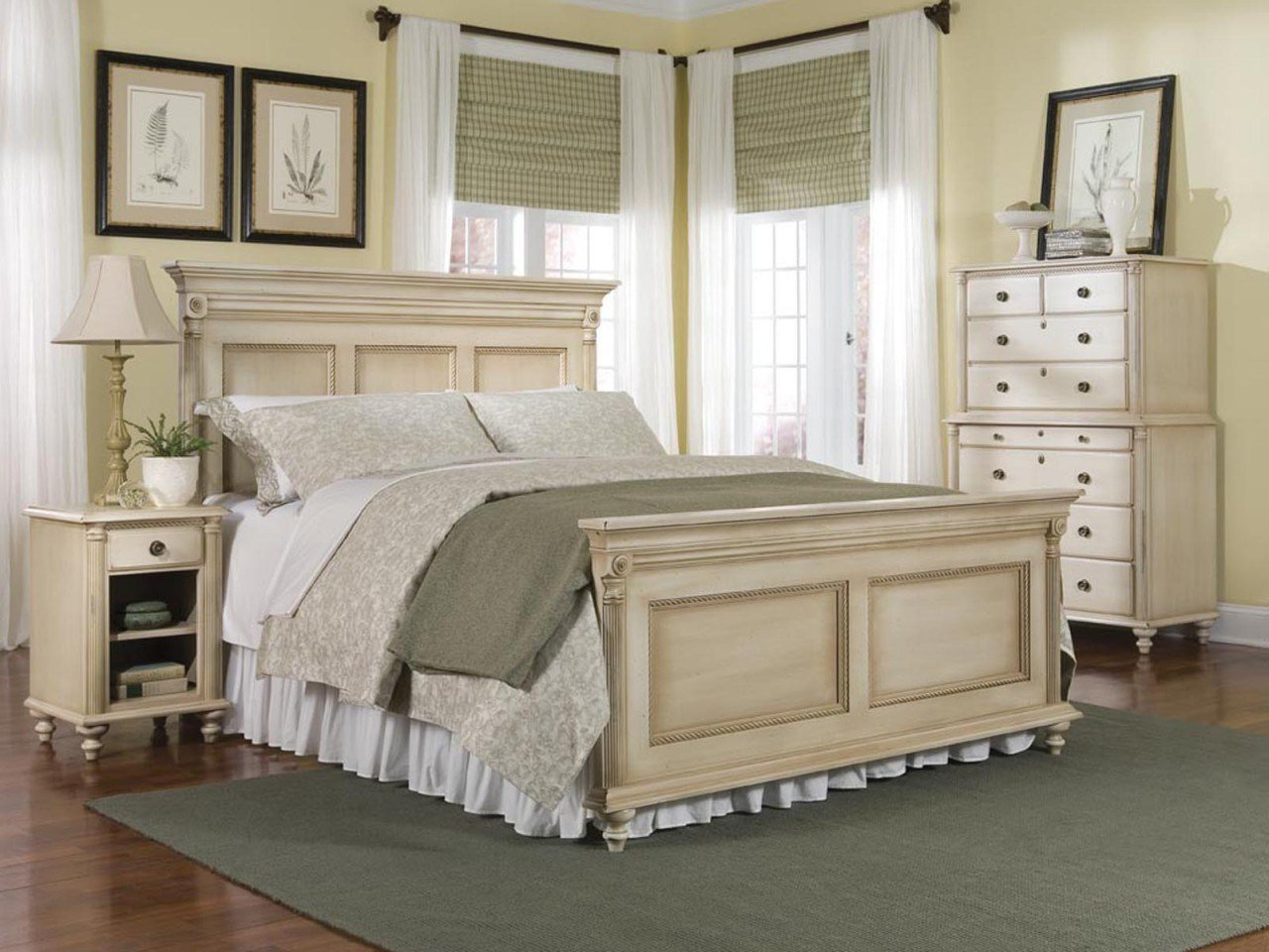 Best Durham Furniture Savile Row 4 Piece Panel Bedroom Set In Antique Cream Bedroom Furniture Reviews With Pictures