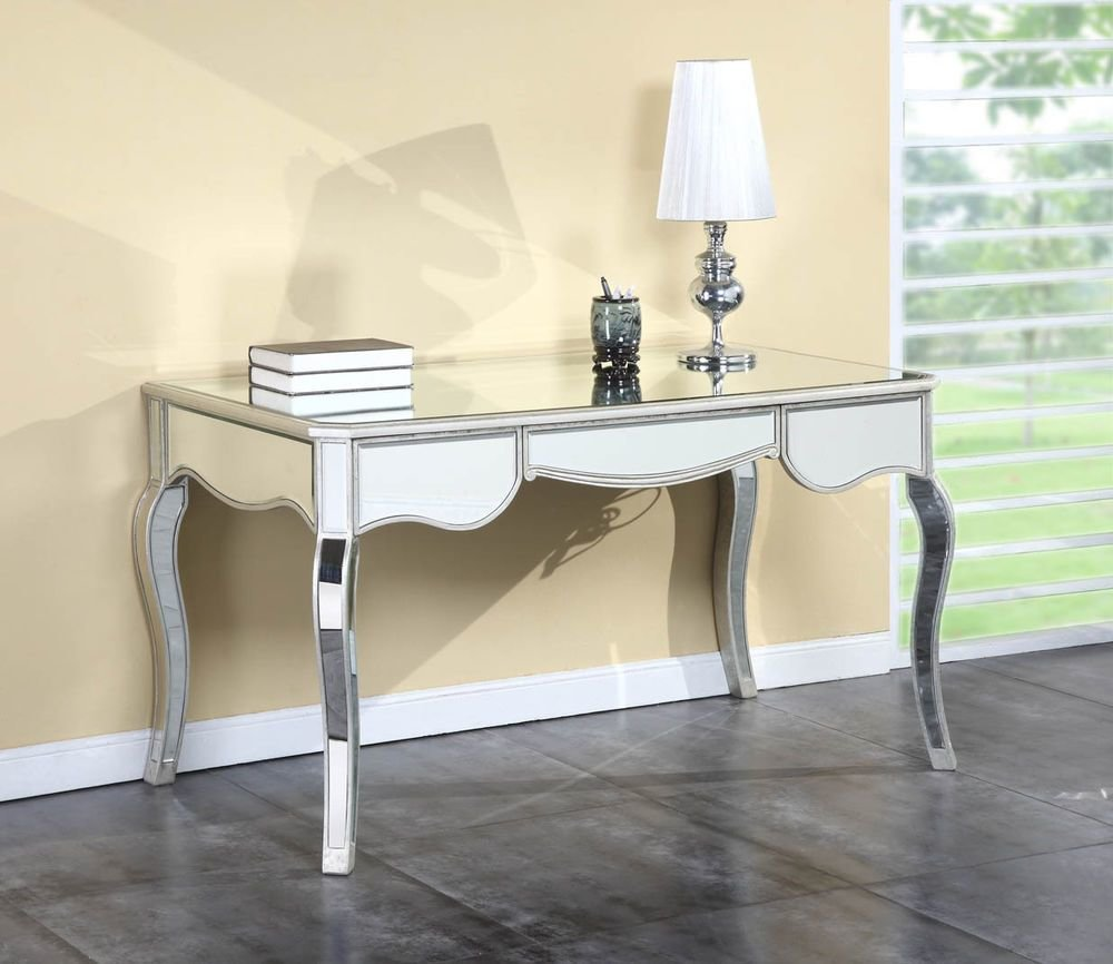 Best Bedroom Glam Mirrored Writing Desk Design Mirrored Writing With Pictures