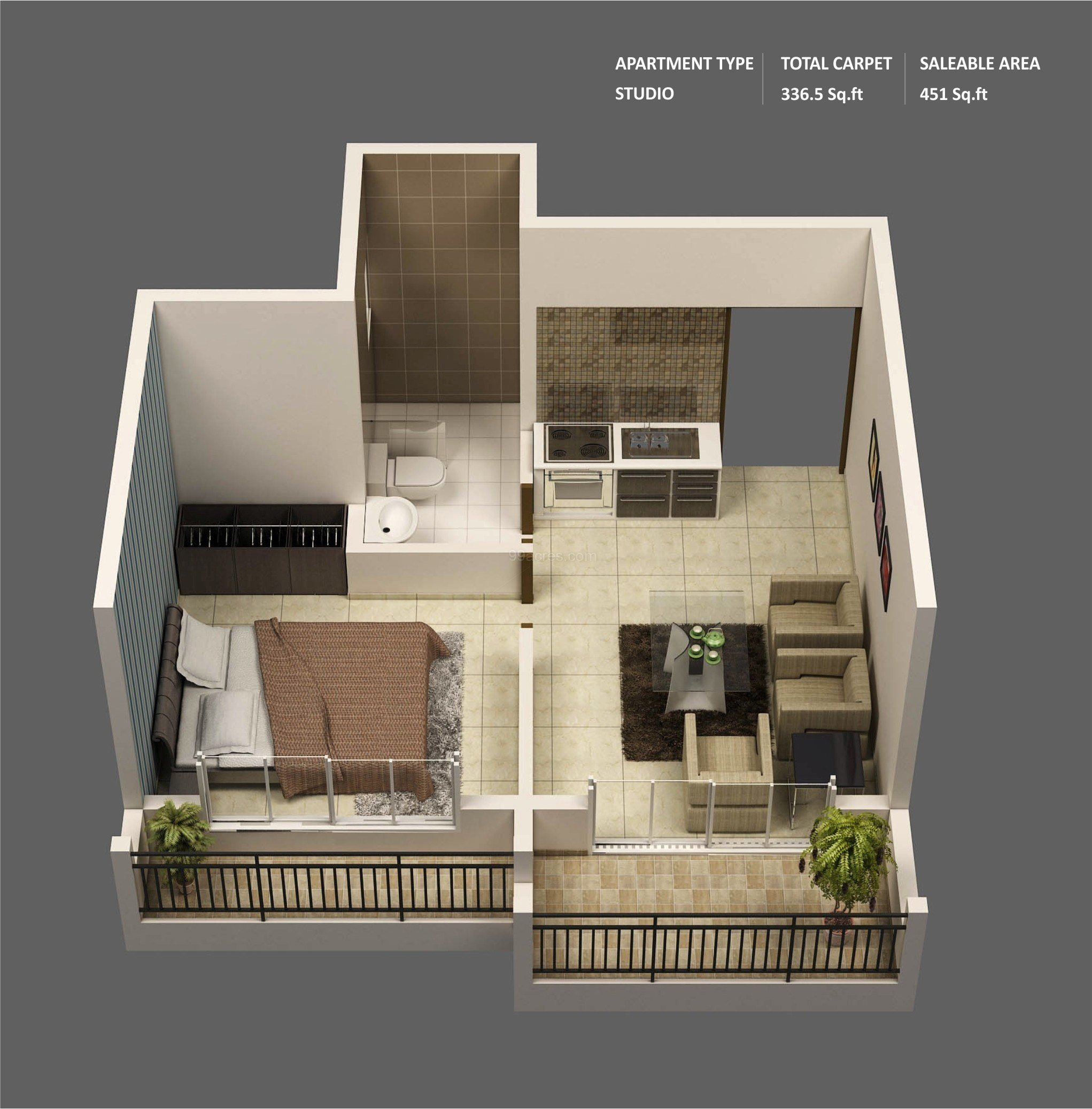 "Best 50 One ""1"" Bedroom Apartment House Plans Architecture Design With Pictures Original 1024 x 768"