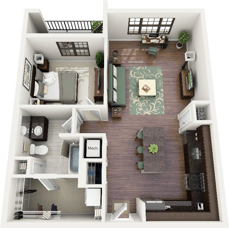"""Best 50 One """"1"""" Bedroom Apartment House Plans Architecture Design With Pictures"""