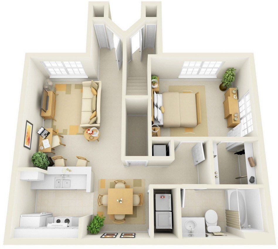 """Best 50 One """"1"""" Bedroom Apartment House Plans Architecture With Pictures"""