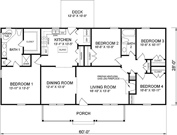 Best Southern Style House Plan 4 Beds 2 Baths 1680 Sq Ft Plan With Pictures