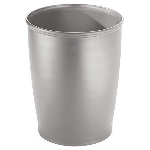 Best Interdesign Kent Tall Trash Can For Bathroom Kitchen Or Office Silver 9 5 X 12 Inches With Pictures
