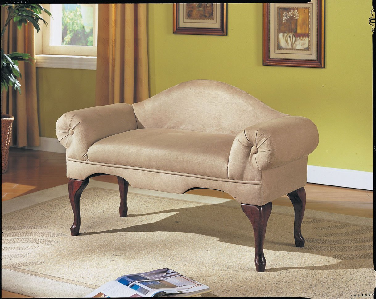 Best Microfiber Rolled Arm Back Bench Seat Chair Bedroom Living Room Lounge Beige New With Pictures