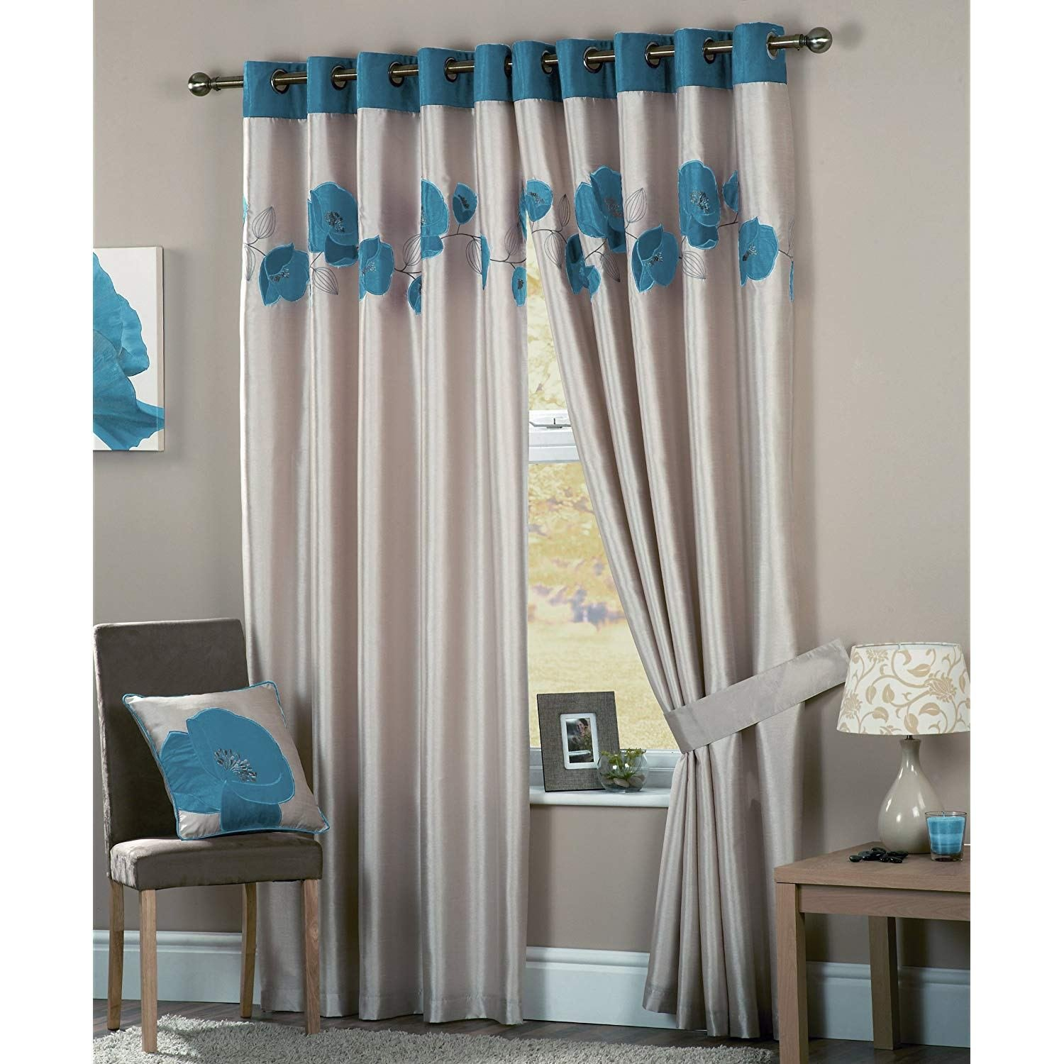 Best Curtina Danielle Eyelet Lined Teal Bedroom Living Room With Pictures