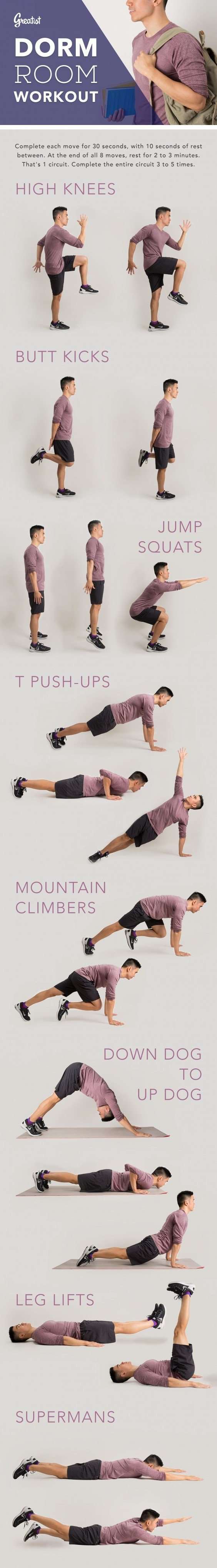 Best 8 Bodyweight Exercises To Try In Your Dorm Room Greatist With Pictures