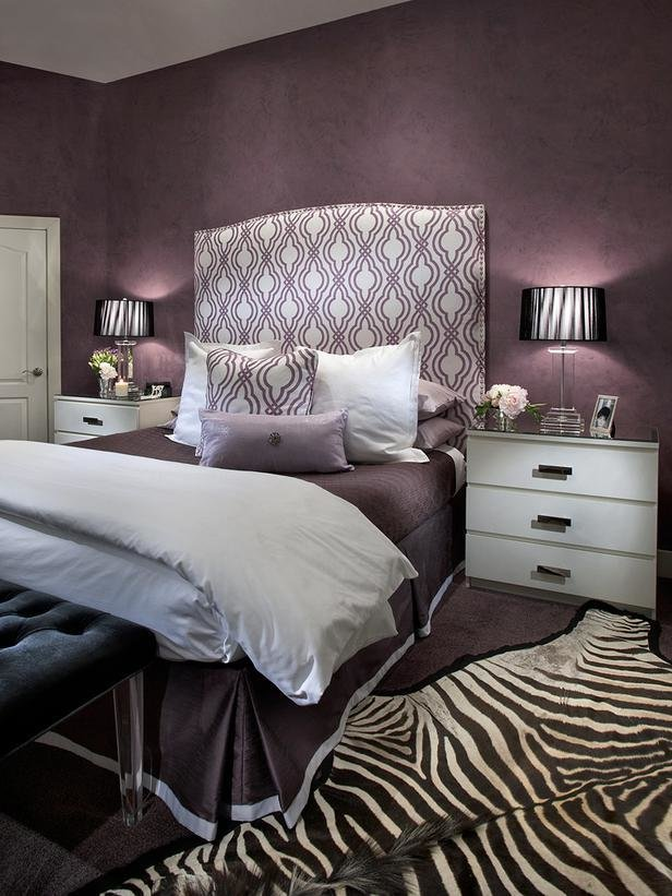 Best Contemporary Purple Bedroom With Zebra Print Rug Hgtv With Pictures