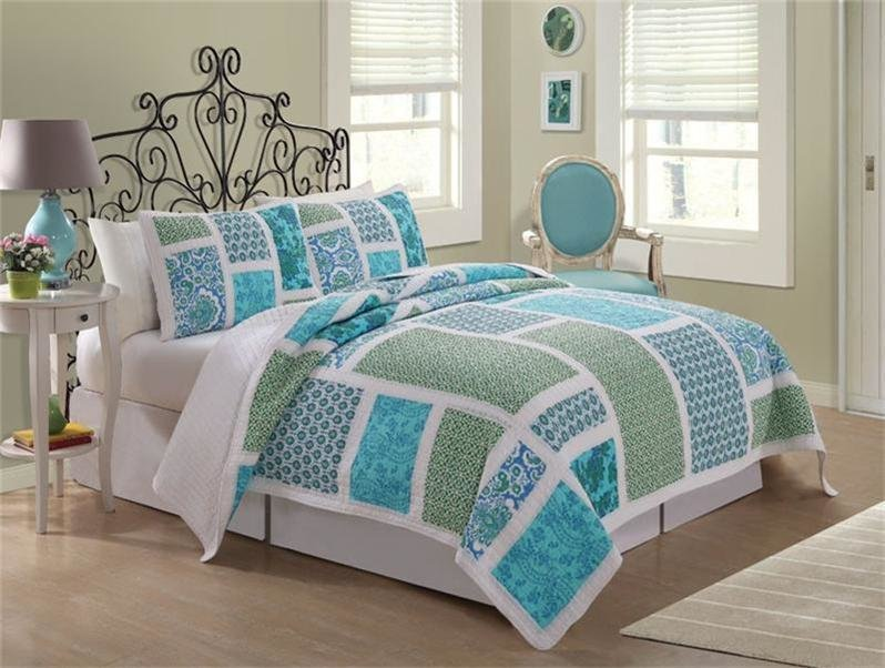 Best Nautical Beach Cottage Blue Green Floral Twin Full Queen With Pictures