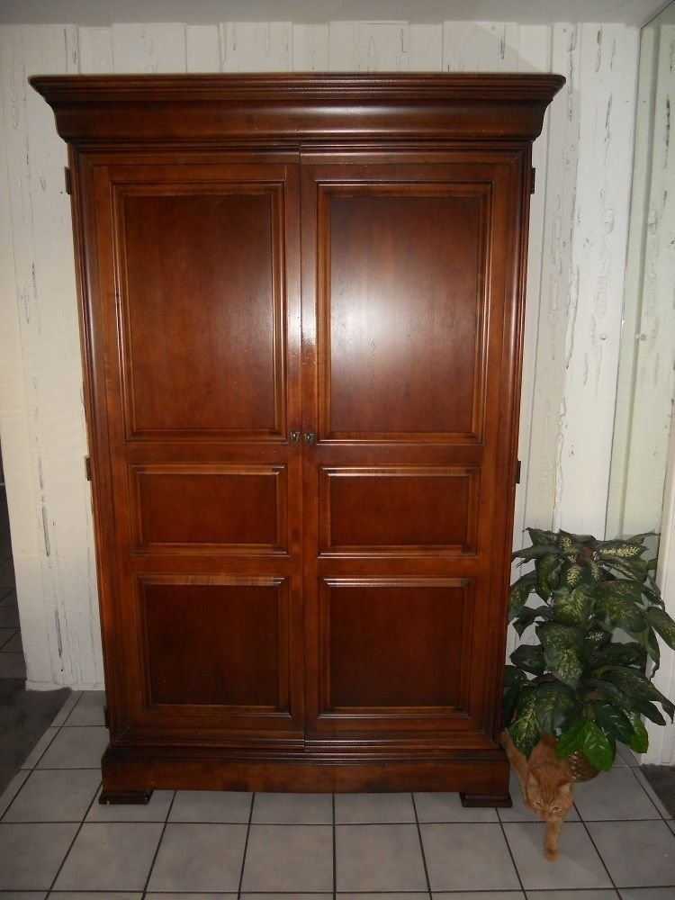 Best Large Cherry Thomasville Tv Bedroom Armoire And Nightstand With Pictures