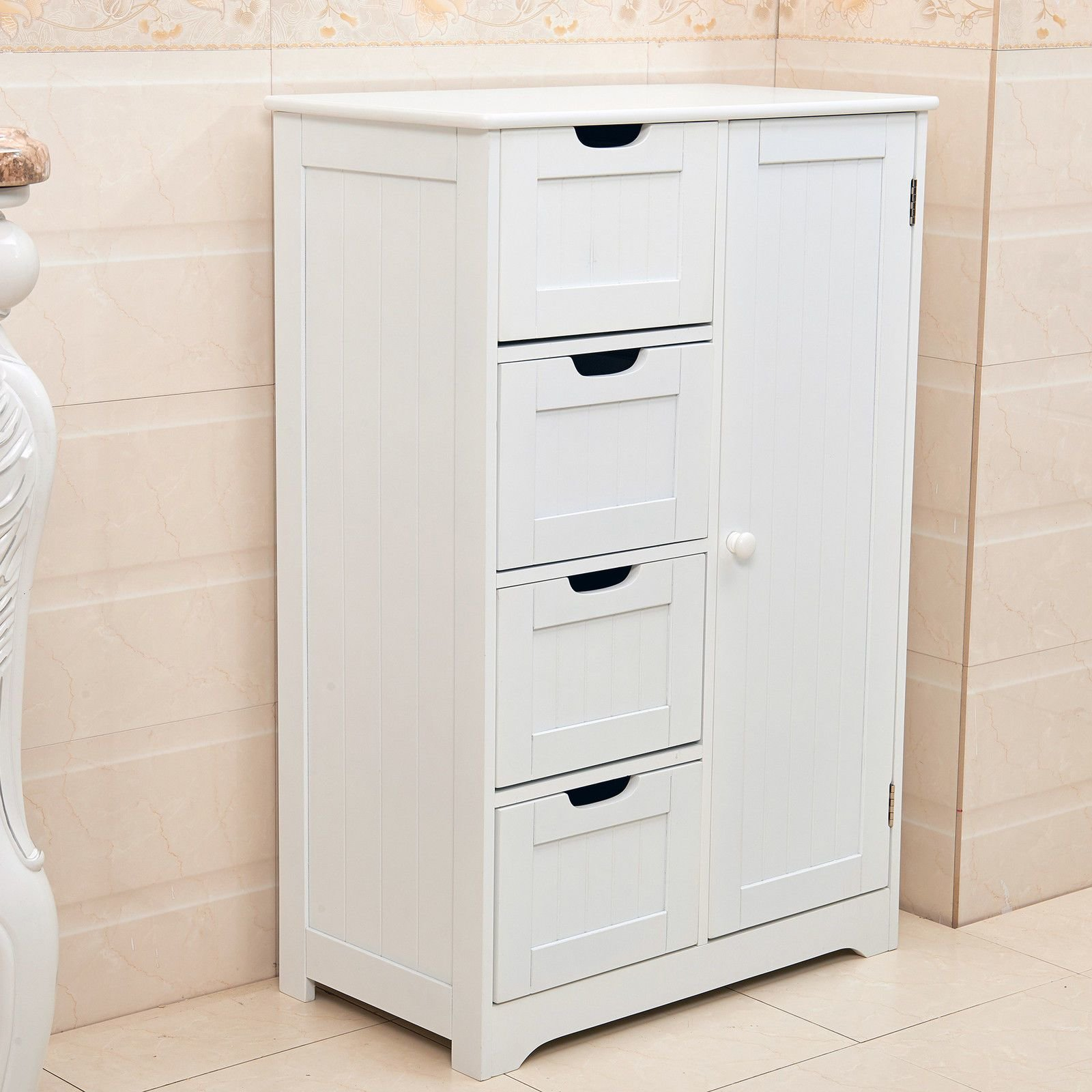 Best New White Wooden Cabinet With 4 Drawers Cupboard Storage Bathroom Or Bedroom Ebay With Pictures