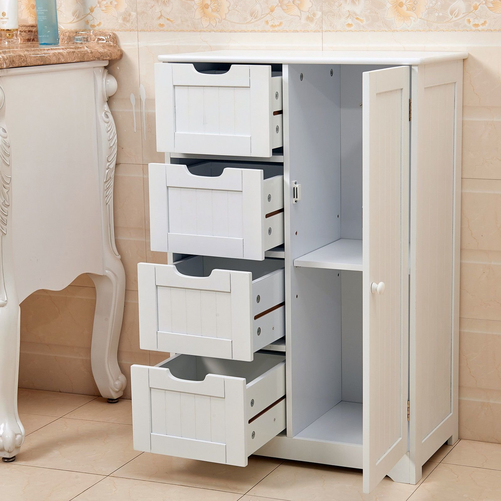 Best New White Wooden Cabinet With 4 Drawers Cupboard Storage With Pictures