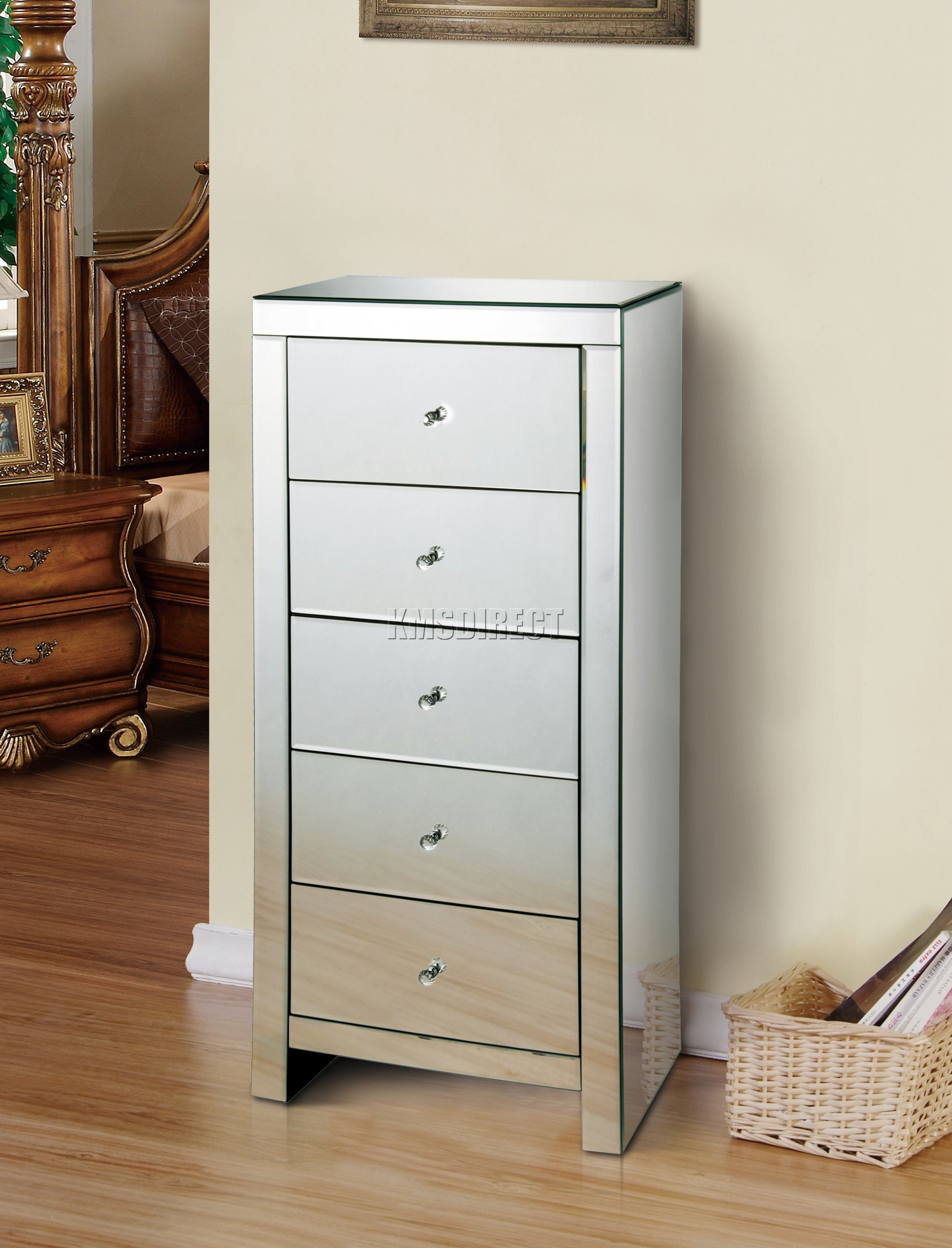 Best Foxhunter Mirrored Furniture Glass 5 Drawer Tallboy Chest Cabinet Bedroom Mtc01 Ebay With Pictures