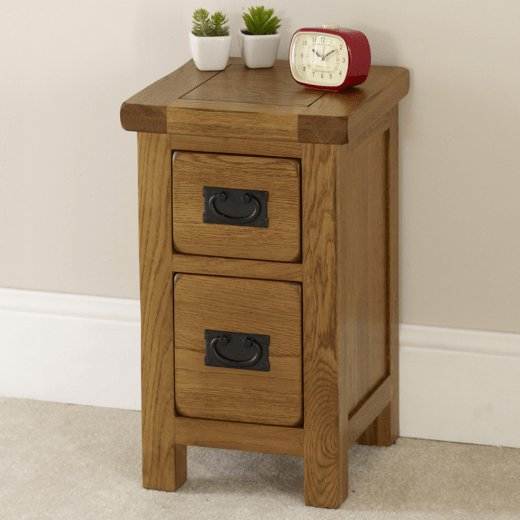 Best Rustic Oak 2 Drawer Slim Bedside Table Solid Bedroom With Pictures
