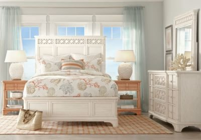 Best Cindy Crawford Home Bondi Beach Bisque 5 Pc Queen Panel Bedroom Queen Bedroom Sets Light Wood With Pictures