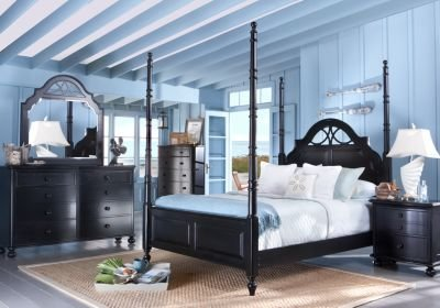 Best Cindy Crawford Home Seaside Black 6 Pc Queen Poster Bedroom Bedroom Sets Black With Pictures