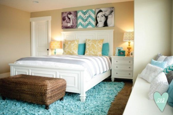 Best Aqua Teal Mustard Grey White Master Bedroom Design Loves Detail With Pictures