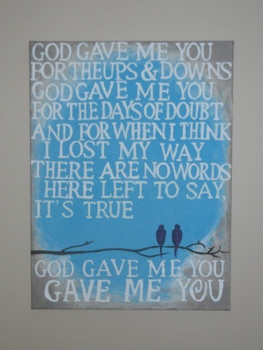 Best Wall Art For Master Bedroom G*D Gave Me You Song Lyrics Love Birds On A Branch With Pictures