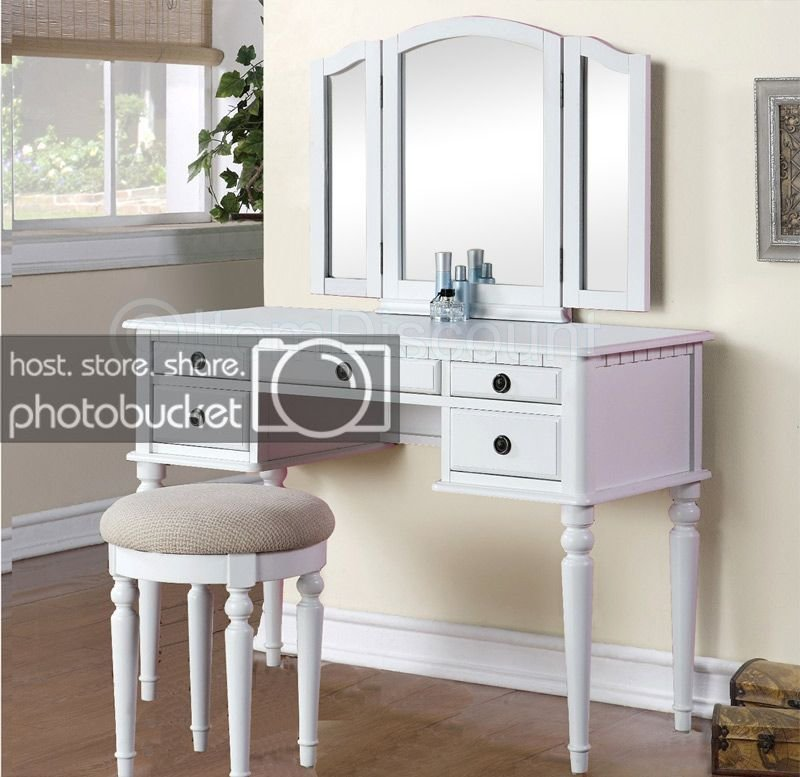 Best Tri Fold White Vanity Makeup 3 Mirror Table Set Dresser Drawers Stool Bedroom Ebay With Pictures