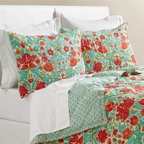 Best Coral And Turquoise Floral Camille Bedding Collection With Pictures