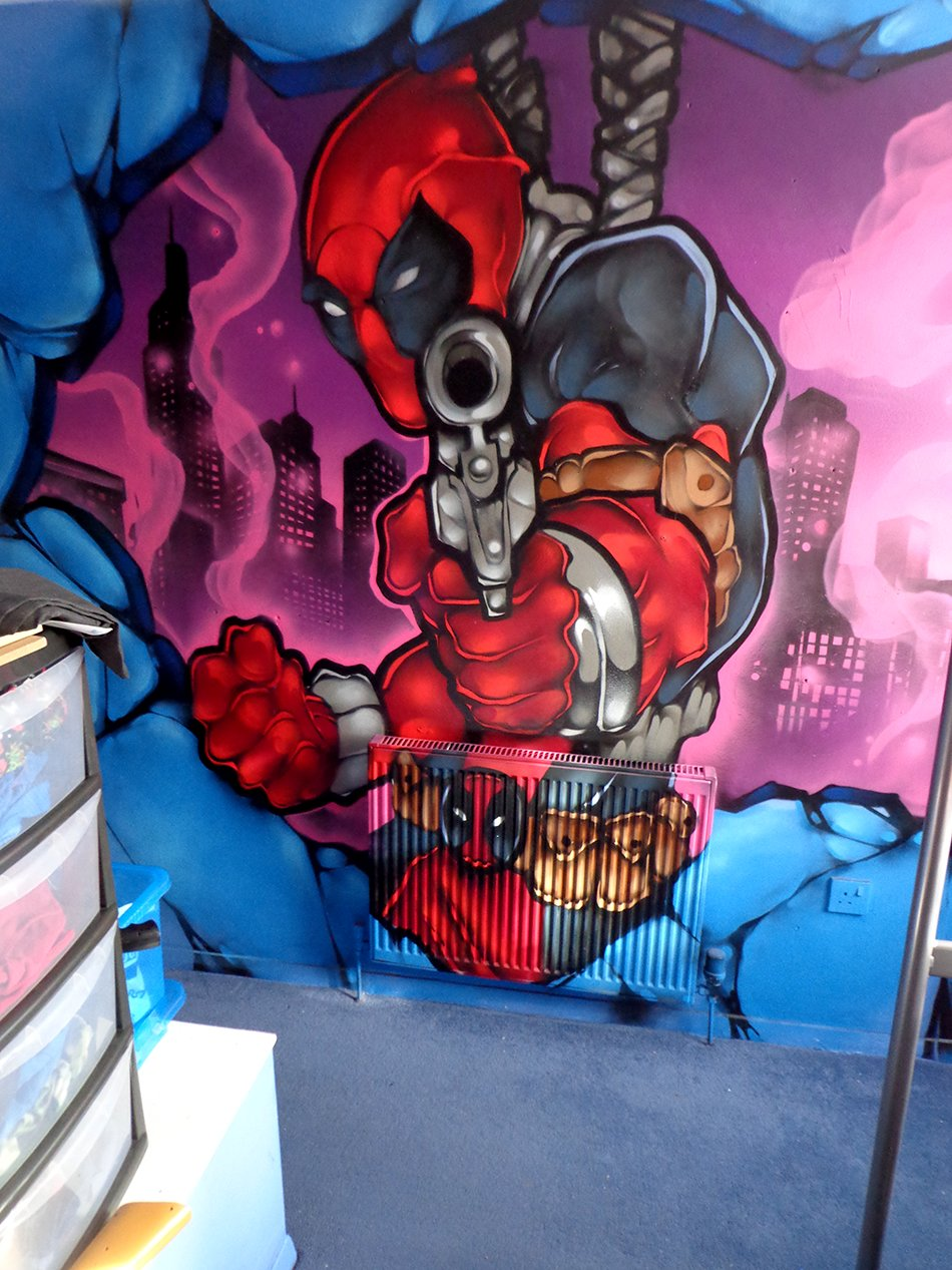 Best Deadpool Marvel Mural Graffiti Kidsbedroom Cardiff With Pictures