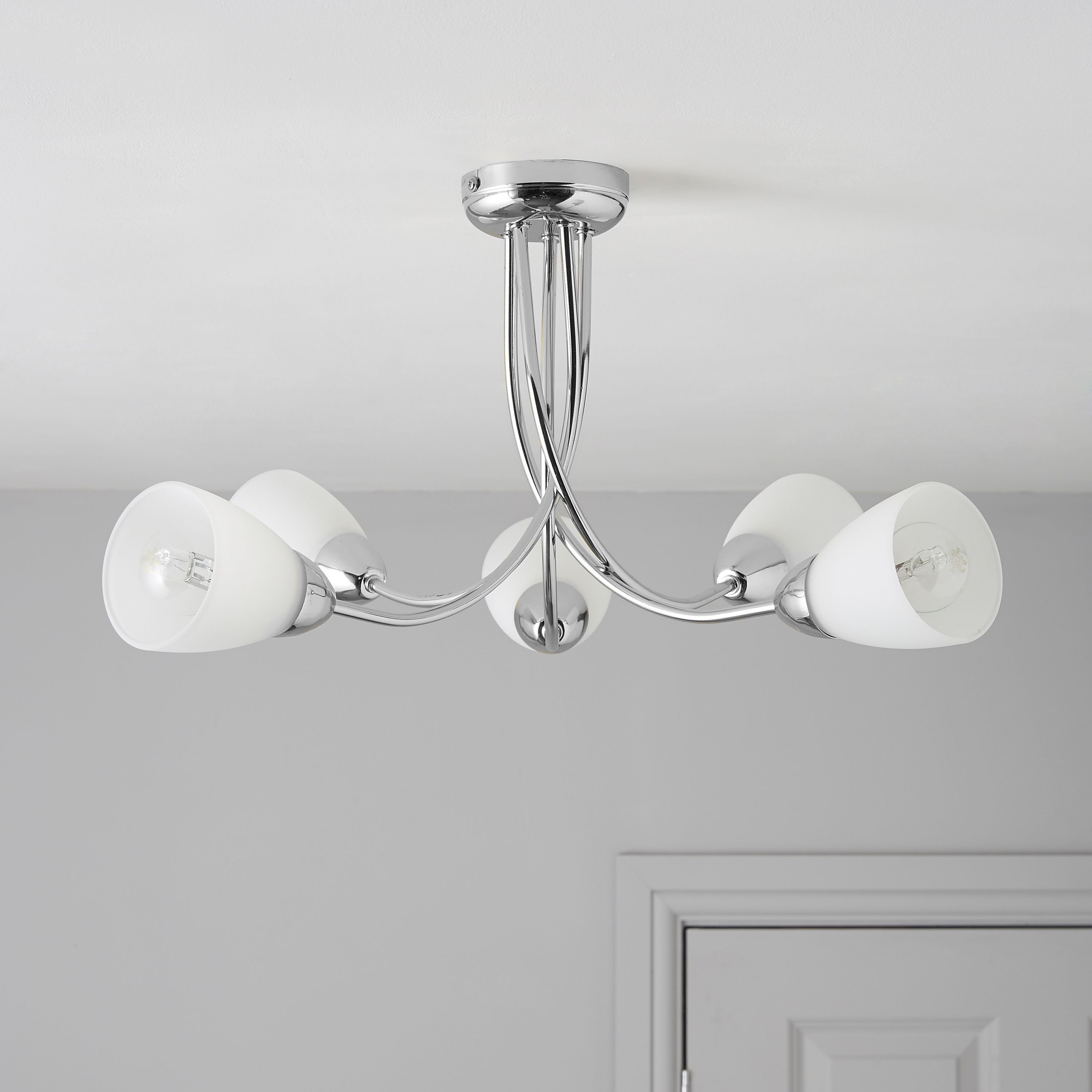 Best Virgo Chrome Effect 5 Lamp Ceiling Light Departments With Pictures