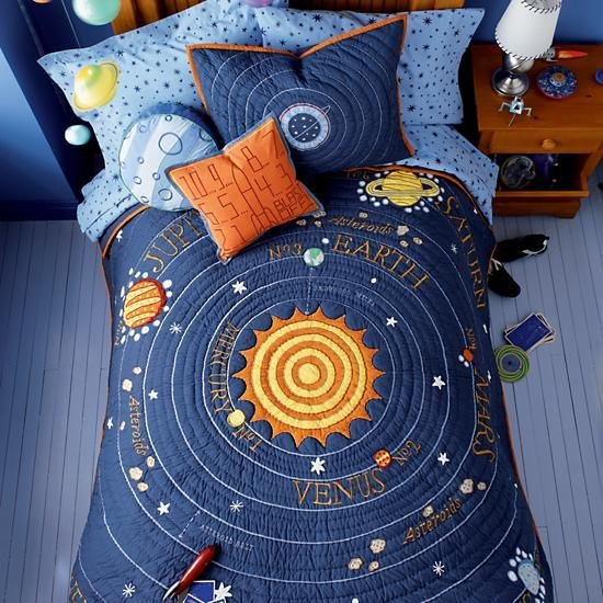 Best Kids Bedding Blue Solar System Quilt The Land Of Nod With Pictures