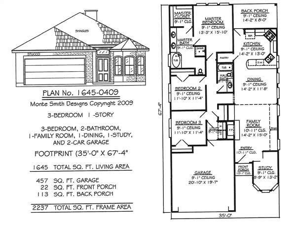 Best Narrow 1 Story Floor Plans Under 36 Feet Wide With Pictures