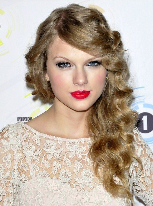 Free Taylor Swift Long Hairstyles Side Curls Popular Haircuts Wallpaper