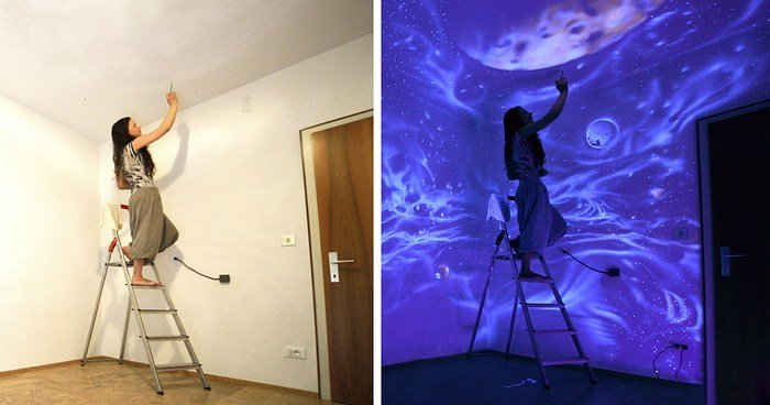 Best When The Lights Go Out My Glowing Murals Turn These Rooms With Pictures