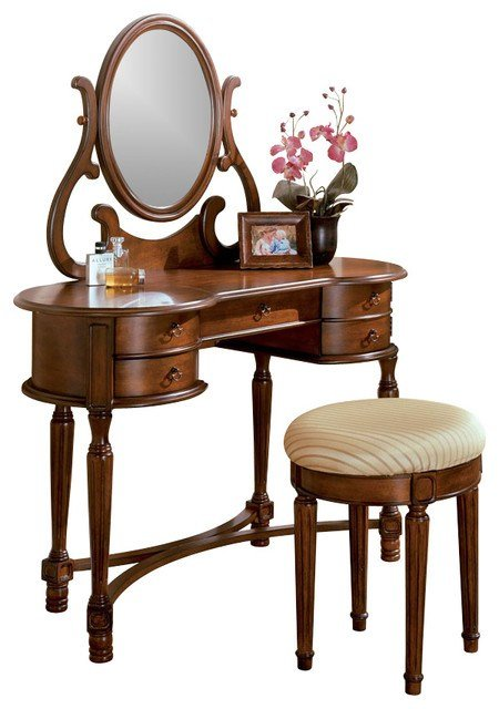 Best Oak Vanity Set Makeup Table Rounded Edges Drawer With Pictures