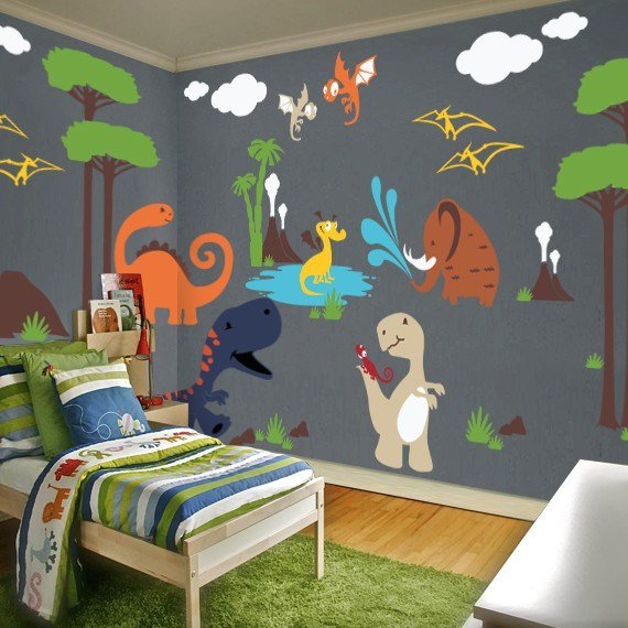 Best Dinosaur Land Playroom Wall Decal Contemporary Kids With Pictures