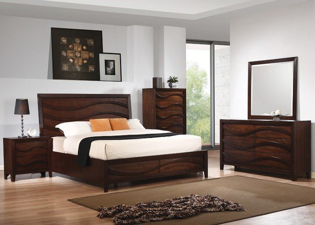 Best Loncar 5Pc Queen Wave Bedroom Set In Java Oak Finish With Pictures