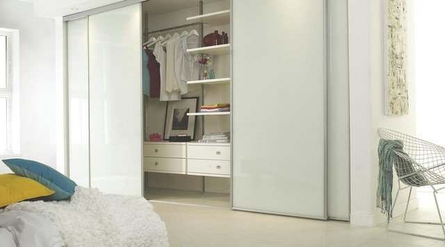 Best Linear White Gloss Sliding Wardrobe Doors Contemporary Bedroom With Pictures