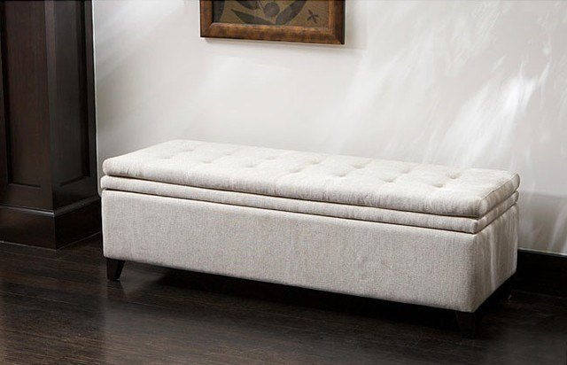 Best Brighton White Linen Storage Ottoman Contemporary With Pictures