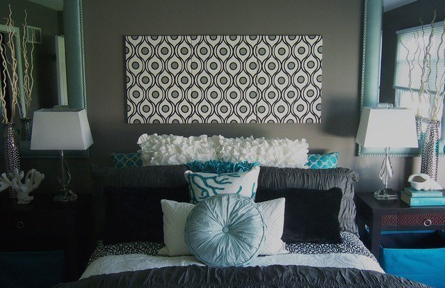 Best Gray And Turquoise Bedroom Contemporary Bedroom With Pictures
